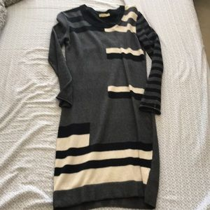 Helmut Lang Grey Black White Sweater Dress